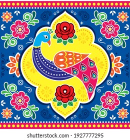 Pakistani and Indian truck art vector seamless pattern with peacock and flowers, traditional floral vibrant poster pattern. Colorful textile or wallpaper design with a bird inspired by retro lorry art