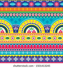 Pakistani or Indian vectopr seamless design inspired by truck art, vibrant pattern with geometric shapes and flowers. Colorful floral repetitive textile or wallpaper background, popular lorry art