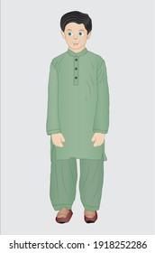 Pakistani little boy wearing the shalwar kameez