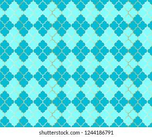 Pakistani Mosque Vector Seamless Pattern. Argyle rhombus muslim fabric background. Traditional mosque pattern with gold grid. Chic islamic argyle seamless design of lantern lattice shape tiles.