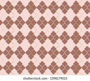 Pakistani Mosque Vector Seamless Pattern. Argyle rhombus muslim textile background. Traditional mosque pattern with gold grid. Stylish islamic argyle seamless design of lantern lattice shape tiles.