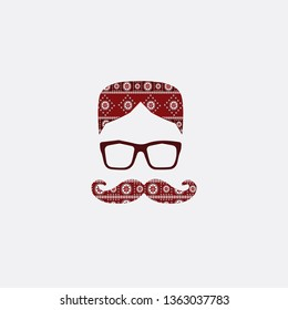 Pakistani Sindhi topi and Mustache with glass