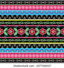 Pakistani truck art floral seamless folk art pattern, Indian Jingle trucks vector design,  vivid ornament with flowers and abstract shapes. Colorful repetitive Diwali background