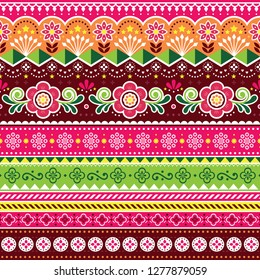 Pakistani truck art vector seamless pattern, Indian truck floral design with flowers, leaves and abstract shapes. Colorful repetitive background inspired by traditional lorry and rickshaw art