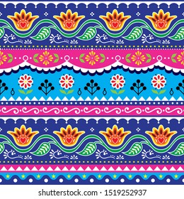 Pakistani truck art vector seamless design, Indian truck floral pattern with flowers, leaves and abstract shapes.   Colorful repetitive background inspired by traditional lorry and rickshaw art