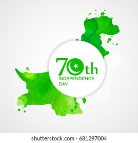 Pakistan's 70th Independence Day Background with Watercolor Map.