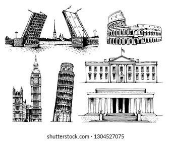 Palace Bridge and Peter and Paul Fortress, Coliseum, Elizabeth Tower (Big Ben), Tower of Pisa, White House, Lincoln Memorial vector illustration, world landmarks set isolated on white background
