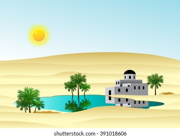 The palace in the desert about the lake and palm trees against the blue sky
