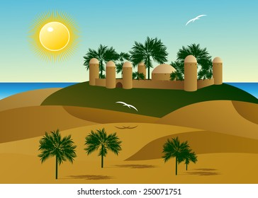 The palace in the desert with palm trees and a view of water and the sky