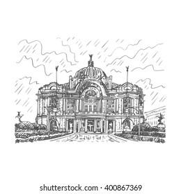 The Palace of Fine Arts (Palacio de Bellas Artes) in Mexico City. Sketch by hand. Vector illustration