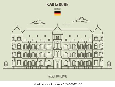 Palace Gottesaue in Karlsruhe, Germany. Landmark icon in linear style