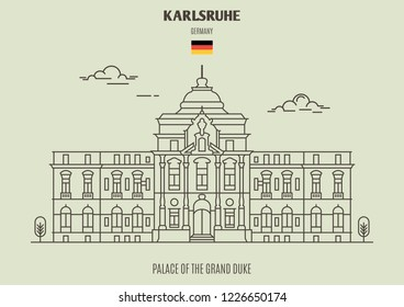 Palace of the Grand Duke in Karlsruhe, Germany. Landmark icon in linear style