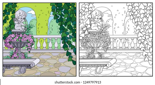 Palace Park cozy corner near garden marble vase with a statue of Cupid color and outlined for coloring