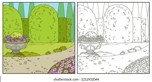 Palace Park with topiary and flowers in a flowerpot and flowerbed coloring book