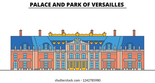 Palace And Park Of Versailles  line travel landmark, skyline, vector design. Palace And Park Of Versailles  linear illustration.