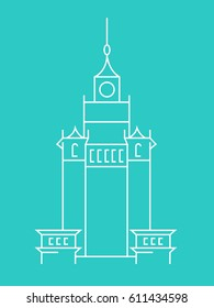 Palace Of Science and Culture in the capital city Warsaw in Poland. Simple minimalistic vector illustration. Thin line silhouette front line building.