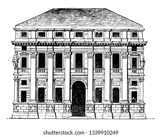 Palace at Vicenza the special champion the architecture attributable to this architect adorned buildings of every kind vintage line drawing or engraving illustration.