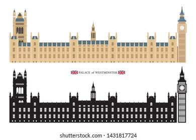 Palace of Westminster and Big Ben London, England, Flat vector and Silhouette, Isolated