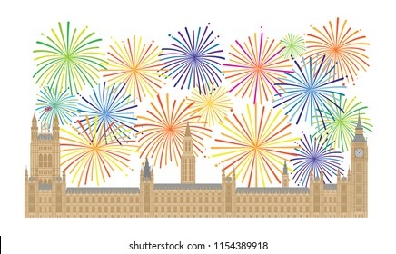 Palace of Westminster Houses of Parliament with Big Ben Clock Tower in London and Fireworks Illustration