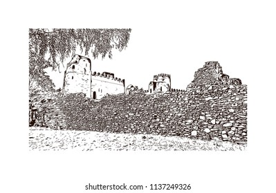 The Palaces and Castles of Gondar, Ethiopia. Hand drawn sketch illustration in vector.