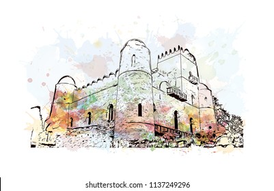 The Palaces and Castles of Gondar, Ethiopia. Watercolor splash with Hand drawn sketch illustration in vector.