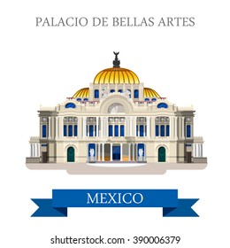 Palacio De Bellas Artes in Mexico. Flat cartoon style historic sight showplace attraction web site vector illustration. World countries cities vacation travel sightseeing North America collection.
