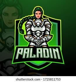 Paladin female esport logo mascot design