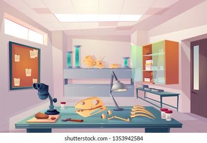 Palaeontology, university genetics laboratory, examining fossilized bones, studying dinosaurs skeleton anatomy cartoon vector illustration