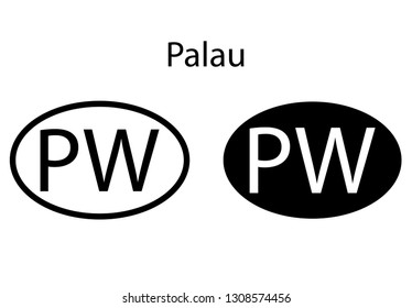Palau country code icon.  Iso code country domain name.   PW - Palau abbreviated. vector