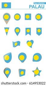 Palau Flag Collection. Big set for design. Vector Illustration.