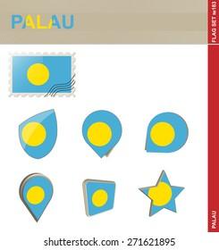 Palau Flag Set, Flag Set #183. Vector.