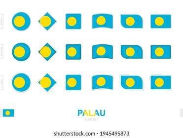 Palau flag set, simple flags of Palau with three different effects. Vector illustration.