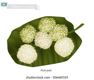 Palauan Cuisine, Pichi-Pichi or Traditional Palauan Dessert Made of Grated Cassava, Sugar, Water and Pandan Essence Coated with Grated Coconut. One of The Most Famous Dessert in Palau.