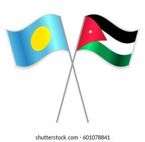 Palauan and Jordanian crossed flags. Palau combined with Jordan isolated on white. Language learning, international business or travel concept.