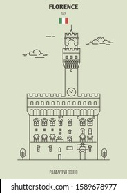 Palazzo Vecchio in Florence, Italy. Landmark icon in linear style