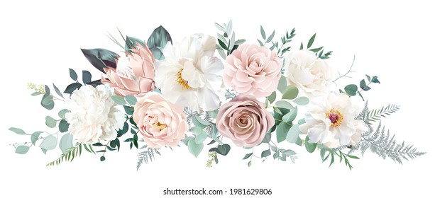 Pale pink camellia, dusty rose, ivory white peony, blush protea, nude pink ranunculus, eucalyptus vector design bouquet. Wedding neutral sage and beige flowers. All elements are isolated and editable