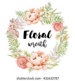 Pale pink garden flowers wreath. Vector greeting card template. Design artwork for the poster, tee shirt, pillow, home decor. Pink peony, rose, lilac, gillyflower.