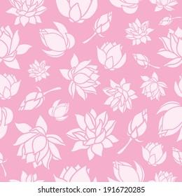 Pale Pink Lotus Flowers on Pink Background Pattern