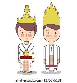 Palembang South Sumatra province wedding Couple, cute Indonesian traditional clothes costume bride and groom cartoon vector illustrationflat