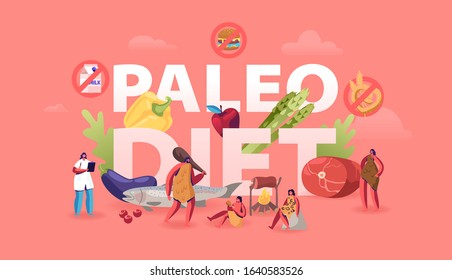 Paleo Diet Healthy Eating Concept. Cave People and Doctor Nutritionist Walking around of Products Seafood Meat Water Vegetable and Fruits Poster Banner Flyer Brochure. Cartoon Flat Vector Illustration