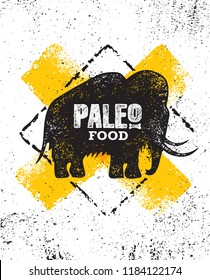 Paleo Food Diet Primal Nutrition Organic Wholesome Illustration Concept On Rough Wall Background. Mammoth Vector Sign.