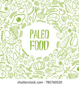 Paleo food- handdrawn background with lettering and food illustations. Unique textured art can be used for banners, flayers, restaurant menu design. Cover design.