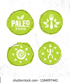 Paleo Primal Food Wholesome Natural & Organic Diet. Craft Raw Earth Friendly Nutritional Supplements Vector Sign On Rough Background.