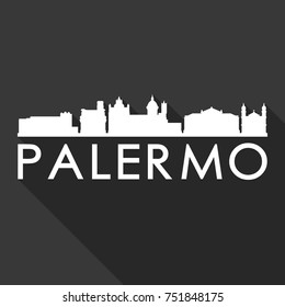 Palermo Flat Icon Skyline Silhouette Design City Vector Art Famous Buildings