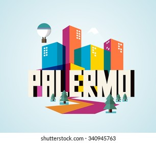 Palermo in Italy is Beautiful city to visit on holiday, vector cartoon illustration