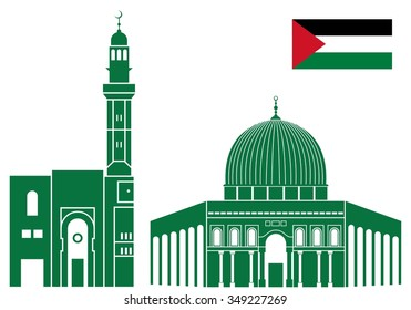 Palestine buildings. Isolated buildings on white background