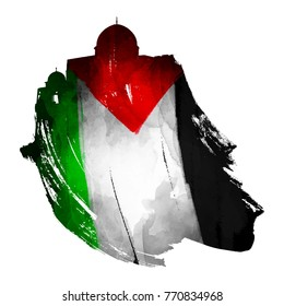 Palestine flag and al quds mosque silhouette illustration on ink brush shape