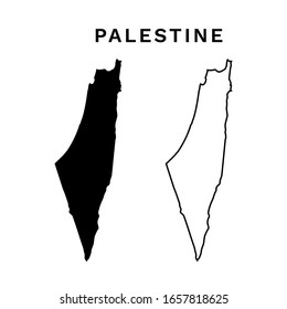 Palestine Map Vector - Blank map of Palestine Black Silhouette and Outline Isolated on White
