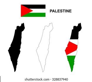 Palestine map vector, Palestine flag vector, isolated Palestine