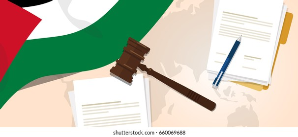 Palestine palestinian law constitution legal judgment justice legislation trial concept using flag gavel paper and pen vector